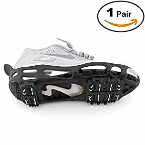 Shoe Ice Grippers Ourdoor Ice Cleats fit All Kind of Shoes Designed for Walk on Ice Snow And Freezing Mud Ground Must Have Outdoor Sports Activity Accessory (24-Teeth, XL)