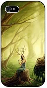 Girl playing flute in forest - Case For Ipod Touch 5 Cover black plastic case / Flowers and Nature, floral, flower