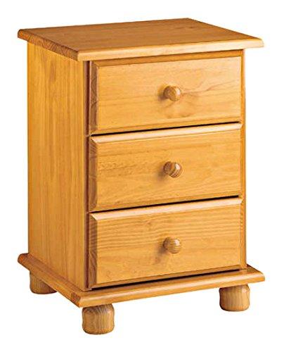 Dogar Altea - Mesita 3 cajones, 55 x 48 x 34 cm, madera, color miel ...