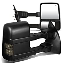 Ford F-Series Pair of Black Powered + Smoked Signal Glass + Manual Extenable Side Towing Mirrors
