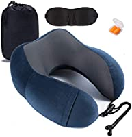 Pillow 100% Pure Memory Foam Neck Pillow Comfortable & Breathable Cover Machine Washable Airplane Travel Kit with 3D...
