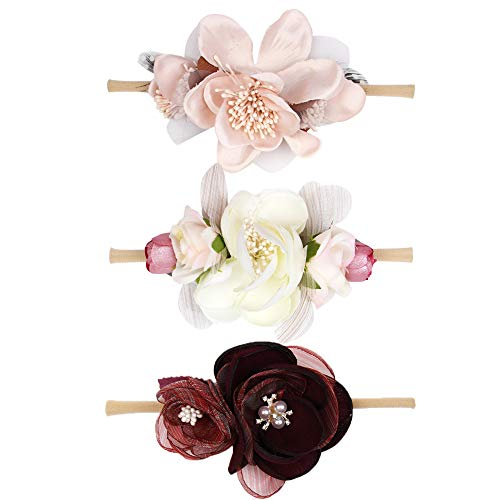 Baby Girl Floral Headbands Set - 3pcs Flower Pearl Crown Newborn Toddler Infant Elastic Nylon Hair Accessories by Ncmama