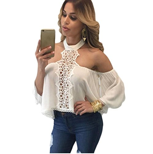 Laimeng New! Women Summer Sexy Off Shoulder Long Sleeve T Shirt Casual Blouse Loose Chiffon Tops for Women (S, White)