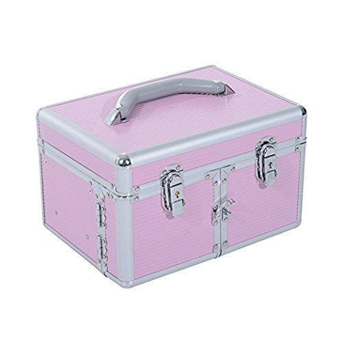 Soozier Portable Lockable Extendable Tray Cosmetic Makeup Case with Mirror - Pink ()