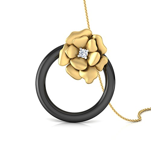 Or jaune 14K 0,06CT TW Round-cut-diamond (IJ   SI) et pendentif en onyx Noir