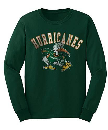 Elite Fan Shop NCAA Men's Miami Hurricanes Long Sleeve T Shirt Team Vintage Miami Hurricanes Green Large -