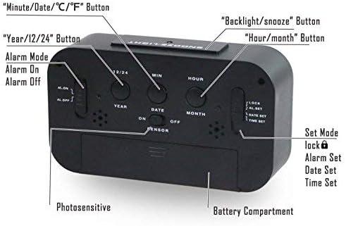 Aliment/é par Batterie,pour Maison Voiture Voyage Bureau Fonction Snooze,Activ/é par la lumi/ère du Capteur R/étro-/éclairage Date Affichage de la Temp/érature OMZGXGOD R/éveil Num/érique Rose
