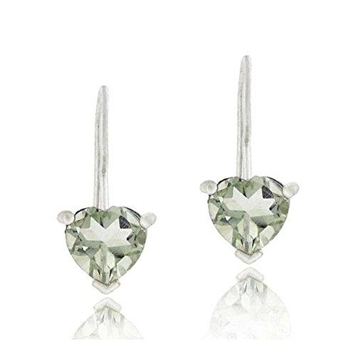 Sterling Silver 1.3Ct. Green Amethyst Heart Drop Earrings