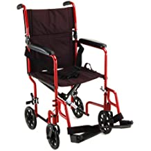 """NOVA Medical Products 327 Lightweight Transport Chair, 17"""", Red"""