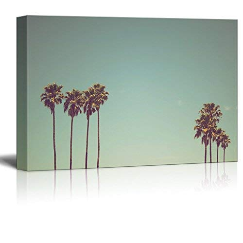 Canvas Wall Art - Retro Style Tall Palm Tree Under Clear Sky - Giclee Print Gallery Wrap Modern Home Art Ready to Hang - 12