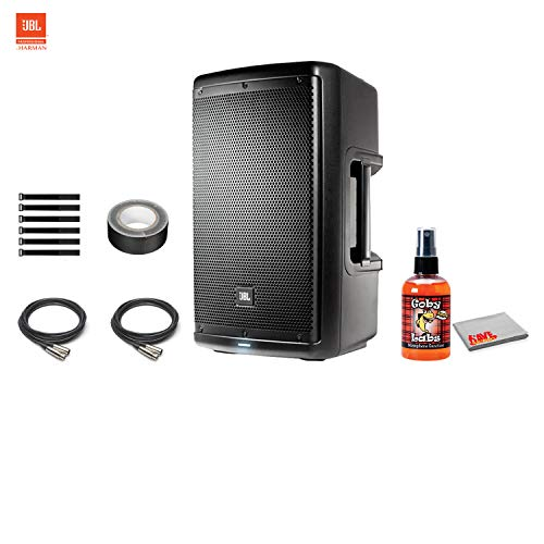 JBL EON610 10 Inch Two-Way Multipurpose Self-Powered Sound Reinforcement Speaker with Sanitizer Spray for Microphones + Cable Ties + XLR Cable 4x10' Bass Reflex Speaker Cabinet