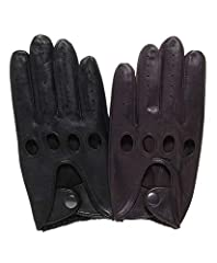 These driving gloves have all the driving glove features you expect, including soft supple leather, knuckle holes, an elastic gather at the wrist, and a snap closure on the wrist strap.