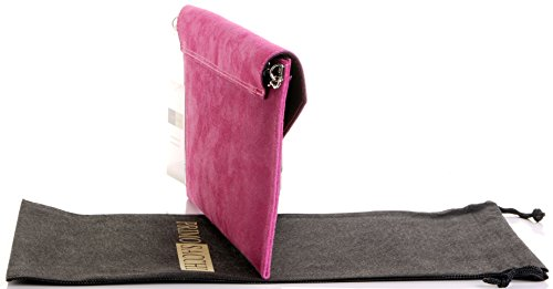 Envelope Includes Wrist Hand Fuschia Leather Branded Crossbody a Bag Made Protective Shoulder or Italian Primo Bag Suede Design Storage Pink Sacchi Clutch wxqnC66IYR