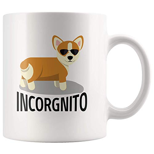 Incorgnito Corgi Dog Funny Ceramic Mug Incognito Pet Welsh Corgi in Sunglasses Lover Computer Geek 11 oz Coffee Tea Mug - High Gloss + Premium White Finish Dishwasher and Microwave Safe ()
