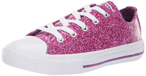 Converse Girls' Chuck Taylor All Star Glitter Coated Low Top Sneaker, icon Violet White, 5 M US Big -