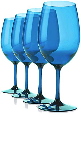 (Circleware Uptown Wine Glasses, Set of 4, All-Purpose Elegant Entertainment Party Beverage Glassware Drinking Cups for Water, Juice, Beer, Liquor, Whiskey and Bar Dining Decor Gifts, 13 oz, Blue)