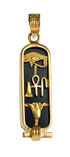 Discoveries Egyptian Imports - Handmade Onyx Gemstone Back 18K Gold Cartouche with Hieroglyphs for Health, Life and Happiness - Made in Egypt