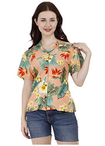 Hawaiian Shirts 46W Womens Flower Leaf Beach Aloha Top Blouse Peach XL