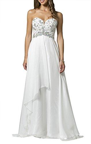 herrydress Strapless Sweetheart Neckline Embellished White Quinceanera Dress