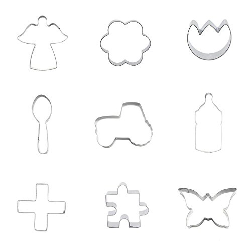 9 Pieces Cookie Cutter Biscuit Butterfly Jigsaw Puzzle Cross Crucifix Babys Bottle Tractor Spoon Tulip Flower Plum Blossom Elf Angel ()