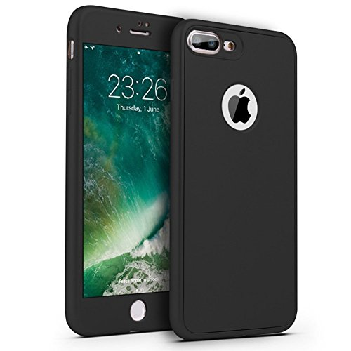 PHEZEN iPhone 7 Case,iPhone 8 Case, [360 Degree Full Body Coverage], Front and Back Protecive Soft TPU Silicone Rubber Case + Tempered Glass Screen Protector for iPhone 7/iPhone 8, Black