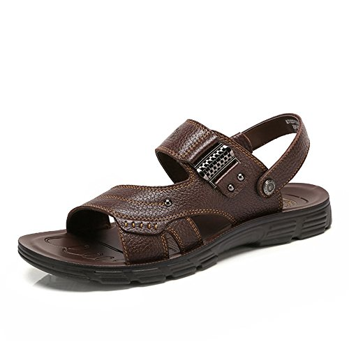 Camel Mens Casual Cow Leather Sandals Non-slip Slip On Summer Beach Wear Flip Flop Brown