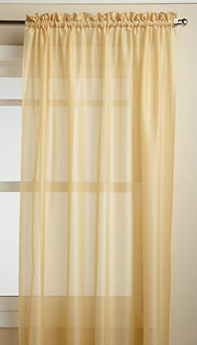 (LORRAINE HOME FASHIONS Reverie Tailored Window Panel, 60 x 95, Gold)