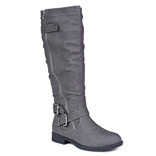 Twisted Women's Amira Asymetrical Zipper and Buckle Knee-High Riding Boot- AMIRA74 Grey, Size 11