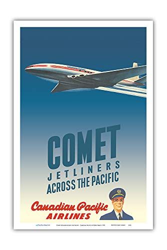 Airlines Pacific Canadian - Pacifica Island Art - Comet Jetliners Across The Pacific - Canadian Pacific Airlines - Vintage Airline Travel Poster by Peter Ewart c.1952 - Master Art Print - 12in x 18in