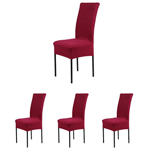 4 x Removable Short Stretch Spandex Dining Chair Slipcovers