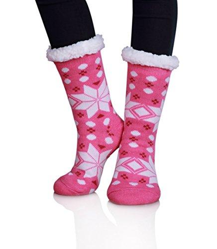 MIUBEAR Women Super Warm Soft Slipper Socks-Fleece Lining Fuzzy Christmas Winter Socks (Dot Snowflake (Dots Pink Cotton Socks)