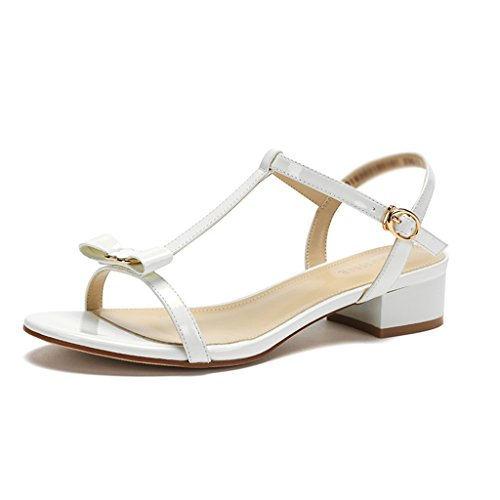 Sandals ZCJB Women's Shoes Summer Thick With Bowknot Shoes For Women (Color : Green, Size : 37) White