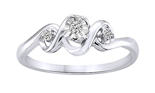 White Natural Diamond Accent Swirl Ring In 14k White Gold Over Sterling Silver (0.06 Cttw) - 14k Wg Diamond Swirl Ring