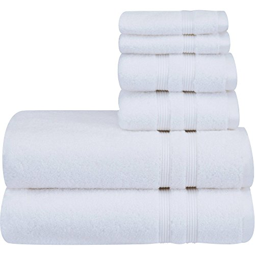 Mainstay 6 Piece Set of Soft & Classic Look Solid Performance Towel, 100% Cotton, Fade Resistant, Designed to Dry Faster [Includes 2 Bath Towels, 2 Hand Towels and 2 washcloths] - Arctic White