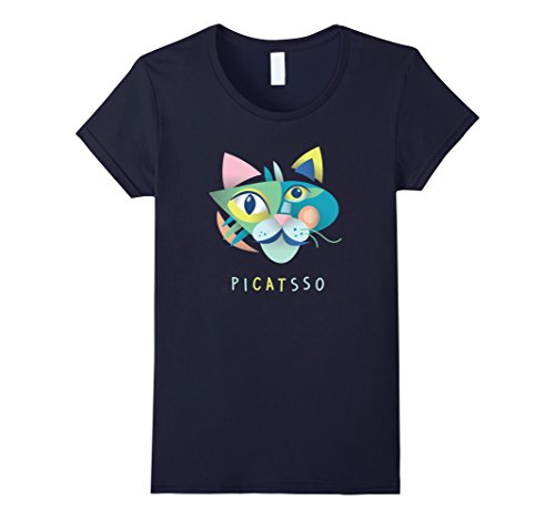 Womens Artist & Art Teacher Shirt: Picatsso, Funny Abstract Cat Art XL Navy