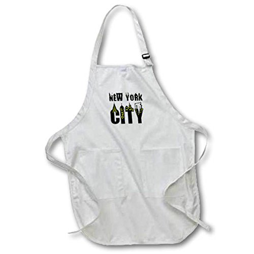 3dRose Alexis Design - American Cities - Decorative text New York City, landmarks, shining windows on white - Full Length Apron with Pockets 22w x 30l (apr_286456_1)