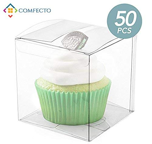 COMFECTO 50 Pcs 4x4x4 Inch Clear Crystal Plastic Tuck Top PVC Boxes, Excellent for Cupcake Chocolate Wedding Favor Party Present Display, Effortless Assembly Easy To Fold Boxes with Predefined Creases