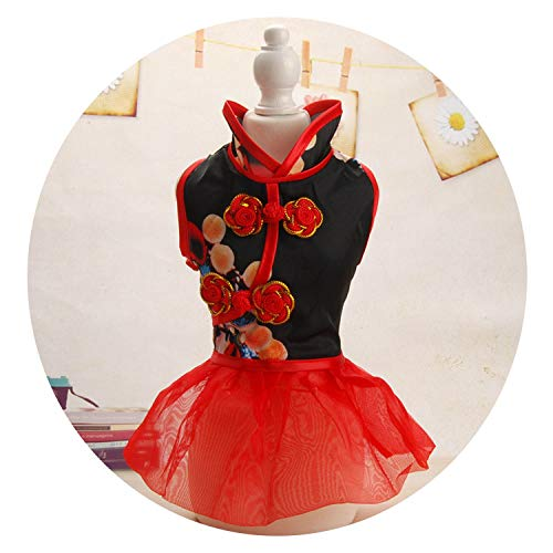 Chinese Style Small Dogs Clothes Cats Chihuahua Costume for Pets Dress Cat Dog Clothing,Red,S