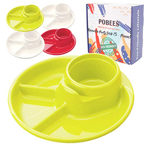 Reusable Party BBQ Plastic Plates - 2019 Zero Waste Divided Plates,BPA Free,Dishwasher,Unbreakable, Non-Toxin for Camping Outdoor Kids Adults, 5 Plates and 2 Mesh Produce Bags (2 Green 2 White 1 Red)