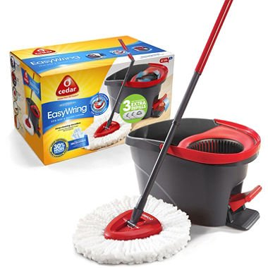 O-Cedar Easy Wring Spin Mop & Bucket System with 3 Extra Refills (pack of 2) by O-Cedar