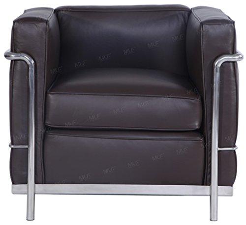 MLF Le Corbusier Style Sofa Armchair, Dark Brown Aniline Leather
