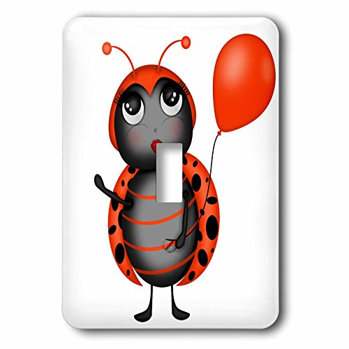 (3dRose Anne Marie Baugh - Illustrations - Cute Flirty Orange and Black Lady Bug With A Balloon Illustration - Light Switch Covers - single toggle switch)