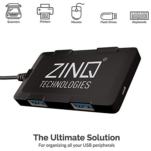 Zinq Technologies ZQ4H Hi-Speed 4 Port Ultra Slim USB Hub for Laptops and Computers (Black)