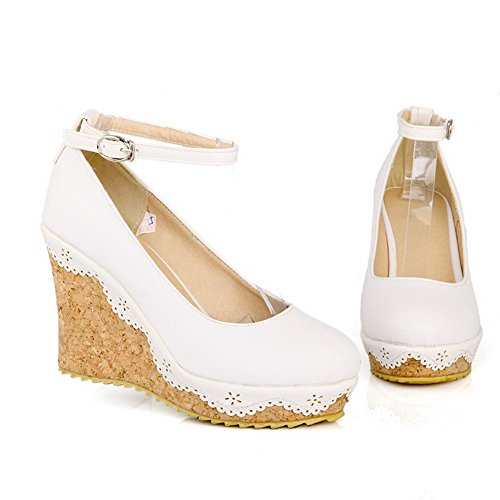 AllhqFashion Womens PU High Heels Round Closed Toe Solid Buckle Pumps-Shoes, White, 34
