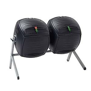 Life Time Vida 60072Duelo 50-Gallon (189.3L) Dual Compost Vaso HDPE Plus Base de Acero con Revestimiento de Polvo