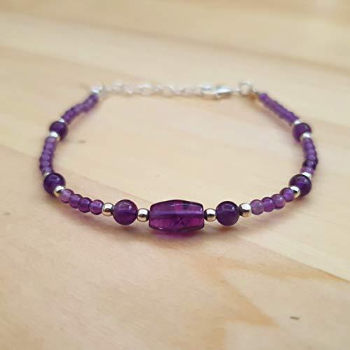 (Dainty Amethyst Round Beads Bracelet Sterling Silver Gemstone Handmade February Birthday Jewelry )