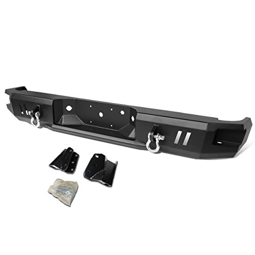 For Ford F150 Heavy Duty Steel Welded Corner Step Rear Bumper w/Dual D-Rings (Black)