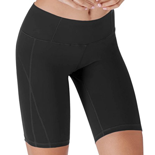 Yoga Reflex - Yoga Shorts for Women - Workout Yoga Short - Hidden Pocket (From XS to 2XL) , Black , Large