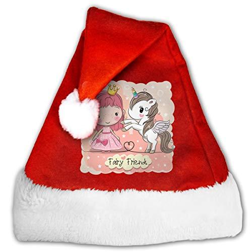 FQWEDY Cute Cartoon Fairy Tale Princess and Unicorn Unisex-Adult's Santa Hat, Velvet Christmas Festival -
