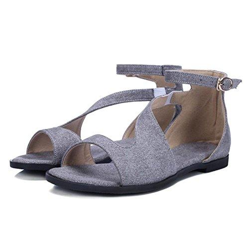 LongFengMa On Flats Elastic Fashion Gray Slip Sandals Women Shoes 1rx1Hq
